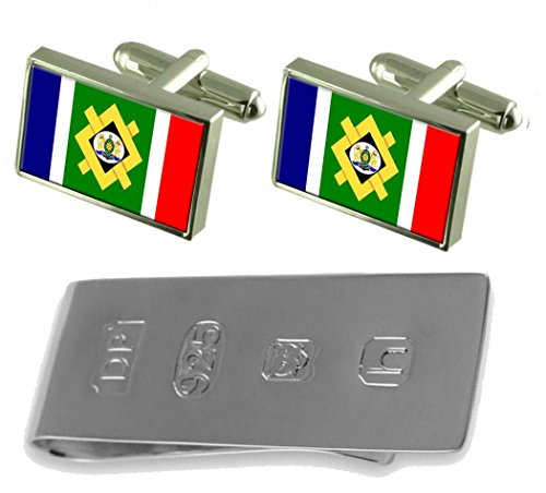 Johannesburg City South Africa Flag Cufflinks & James Bond Money Clip by Select Gifts