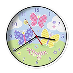 Olive Kids Personalized Butterfly Garden Clock with White Case