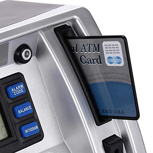 ATM Savings Bank Personal ATM Cash Coin Money Savings Piggy Bank Silver//Black Machine