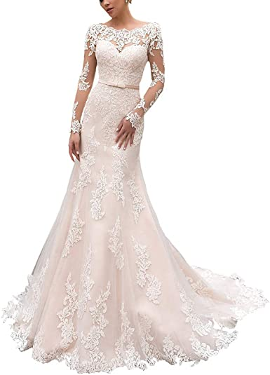 Amazon Com Yipeisha Elegant Long Sleeves Lace Wedding Dress Lace Up Back Tulle Mermaid Bridal Gowns Clothing