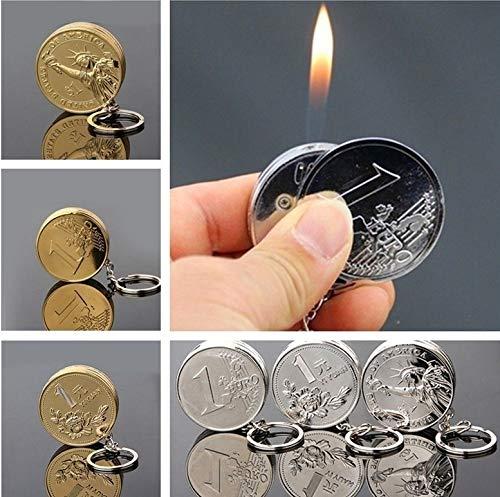 1 PCS Golden Silver RMB Dollar Euro Coin Shape Design Butane Lighter Men Gift No Gas radom