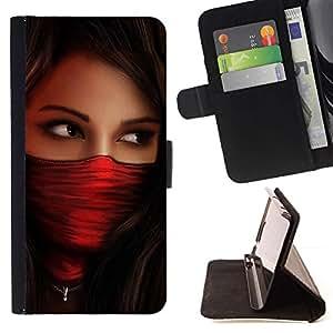 For LG G2 D800 Case , Mujer Roja Babe Agente- la tarjeta de Crédito Slots PU Funda de cuero Monedero caso cubierta de piel