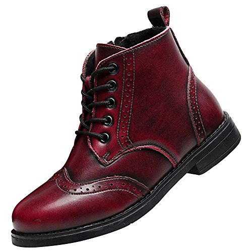 rismart Boy's Kid's Brogues Ankle High Dress Leather Winter Leather Boots - stylishcombatboots.com