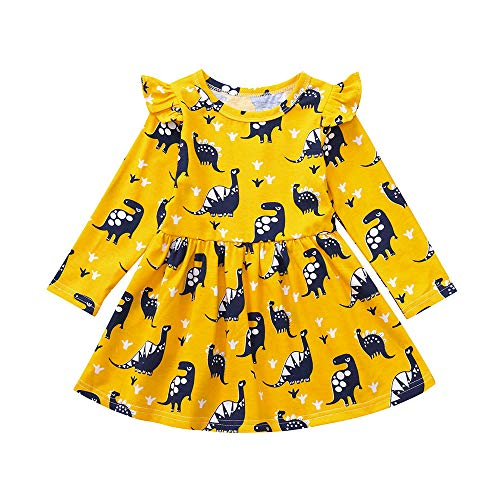 Birdfly Dinosaur Costume Child Small Fly Sleeve for Toddler Baby Kids Girl Dress in Yellow. (24M, Yellow(Long-Sleeved)) for $<!--$4.99-->