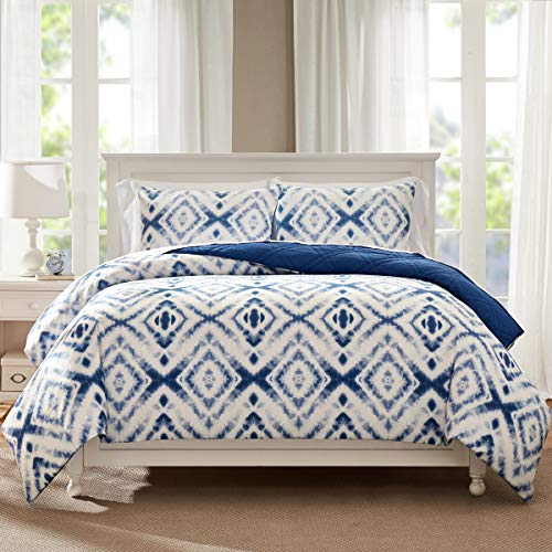 (HeyDreamy Reversible Sateen Cotton 3-Piece Quilted Duvet Cover Set with Cotton Fill, 2-in-1 Bedding Set (Blue, King))