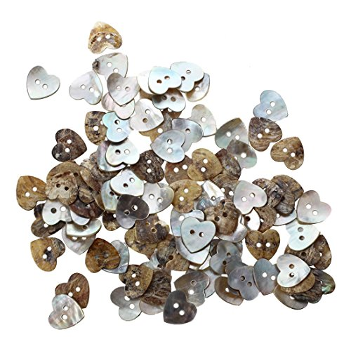 - Xigeapg Lot 100 Mother of Pearl Heart Shell Sewing Buttons 15mm HOT