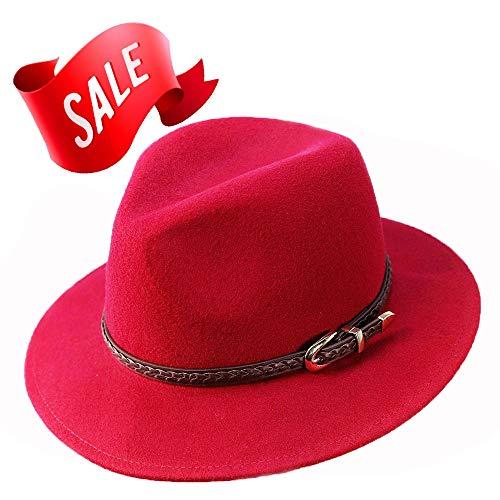 Verashome Felt Panama Hat-100% Wool Fedora Vintage Fit for Women and Men's Trilby -