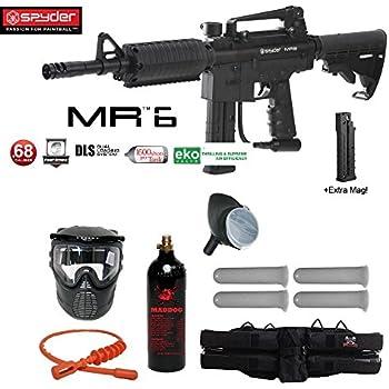 MAddog Spyder MR6 w/DLS & Spare FS 9 Round Magazine Silver Paintball Gun Package - Black