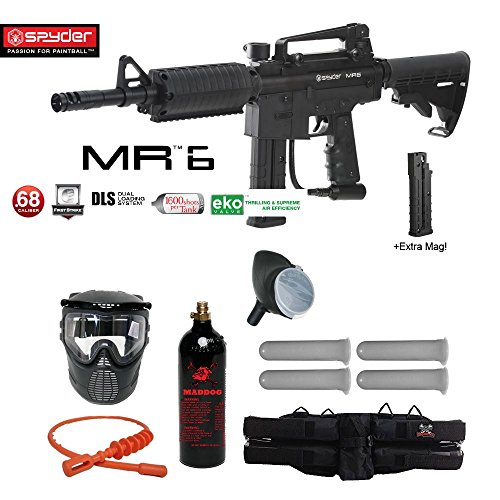 MAddog Spyder MR6 w/DLS & Spare FS 9 Round Magazine Silver Paintball Gun Package – Black