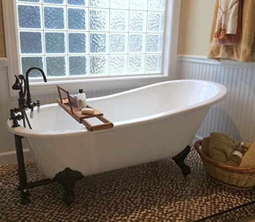 61 Cast Iron Slipper Tub with 7 Faucet hole Drillings Oil Rubbed Bronze Feet- Chariton