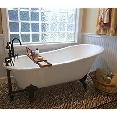 61  Cast Iron Slipper Tub with 7  Faucet hole Drillings & Oil Rubbed Bronze Feet-  Chariton