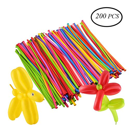 DECORA 200pcs Mix Color Twist Halloween Balloons for Wedding Birthday Easter Party Decoration Magic Ballons Assorted Latex]()