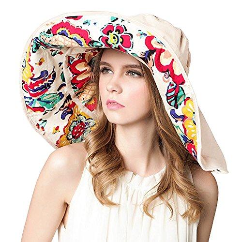 Women Large Wide Brim 2in1 Floppy Travel Beach Sun Visor Bucket UPF 50+ Hat Cap
