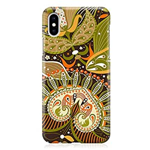 Loud Universe Case for iPhone XS Wrap around Edges Colorful Paisley Green Rugged Durable Sleek Low Profile iPhone XS Cover