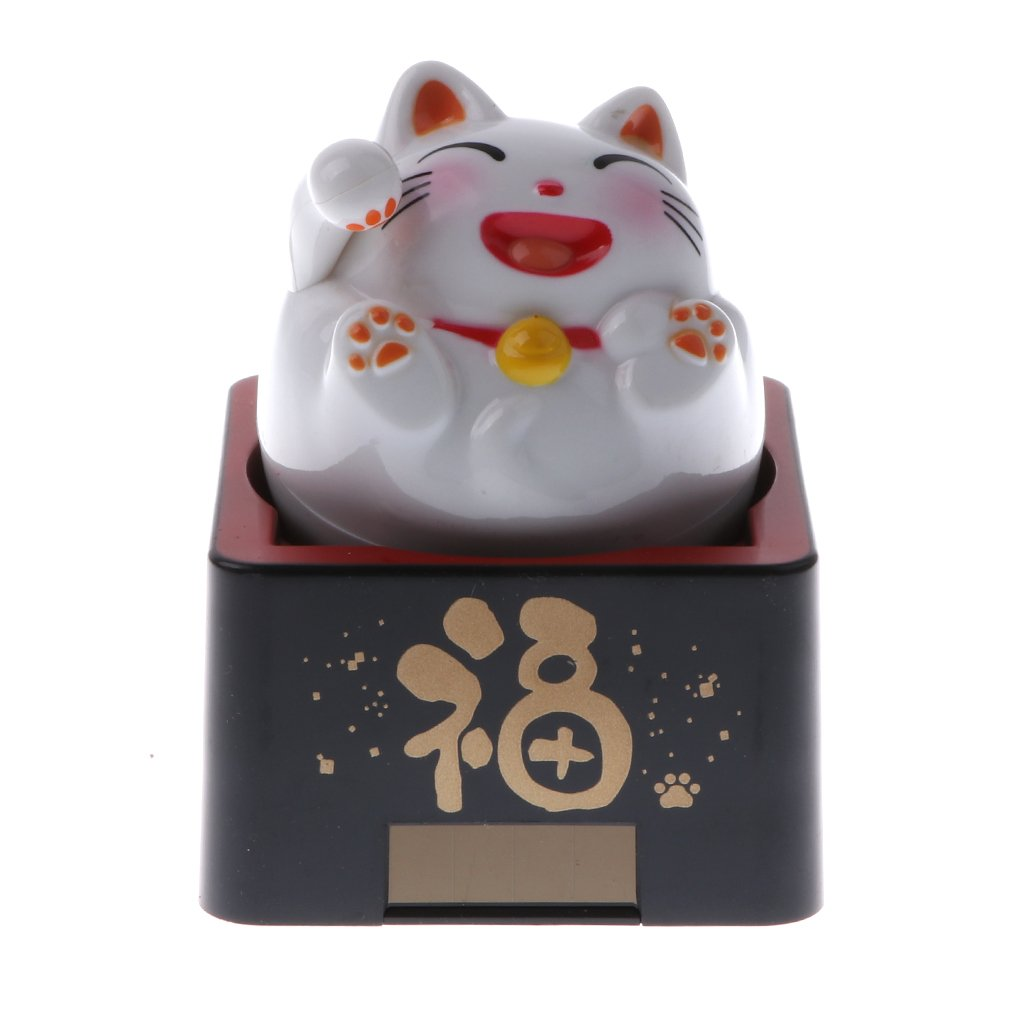 Homyl Solar Powered Bobbling Toy Moving Body Fat Cat Animal Figures on Stage Gadget Toy Home/Car Ornament - White