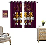 homehot Animal Room Darkening Wide Curtains Funny Ballerina Dancing Monkeys with So Boring to Be Normal Quote Print Customized Curtains Maroon and Marigold