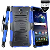 ZTE Prestige 2 Case, ZTE ZFive 2 Case With Tempered Glass Screen Protector,IDEA LINE(TM) Heavy Duty Armor Shock Proof Dual Layer Holster Locking Belt Swivel Clip with Kick Stand - Blue