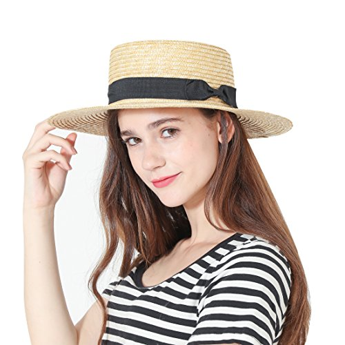 Womens' Panama Sun Hat Boater Handwoven Straw Hat for Summer Bowknot