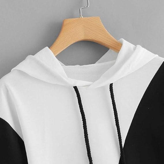 Duseedik Fashion Women Hoodie Jumper Patchwork Long Sleeve Sweatshirt Hooded Pullover Top at Amazon Womens Clothing store: