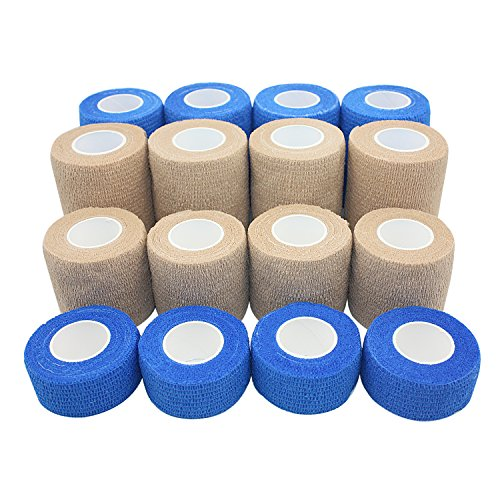 Stpro Pack Of 16 Self Adherent Cohesive Bandages Rolls Waterproof Non Woven Adhesive Wrap Bandage Tape Mixed Packing 1  2  3