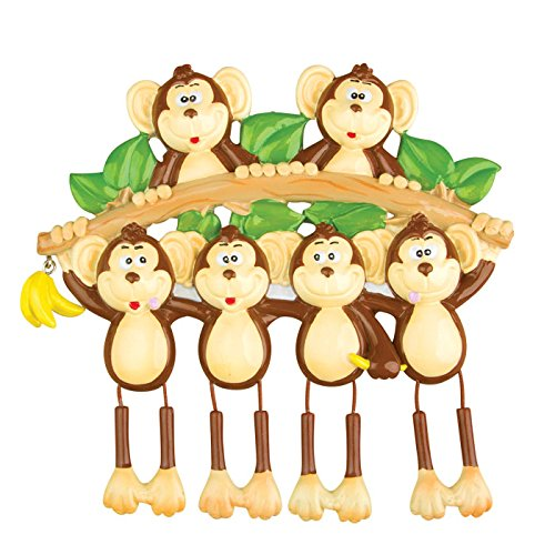 Monkey Family 6 Personalized Christmas Tree Ornament Picture