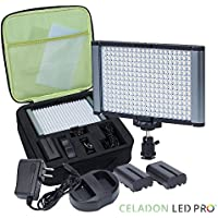 Radiant 2XL 280 LED CRI 95+ Bi-Color Ultra Bright Dimmable Rechargeable Camcorder Video On-Camera Light Kit for Canon Pentax Sony Samsung Olympus DSLR and YouTube