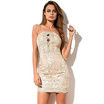 5d9c38639c Qooth Women's Sexy Party Dress Sequin Club Bodycon Dress Spaghetti ...