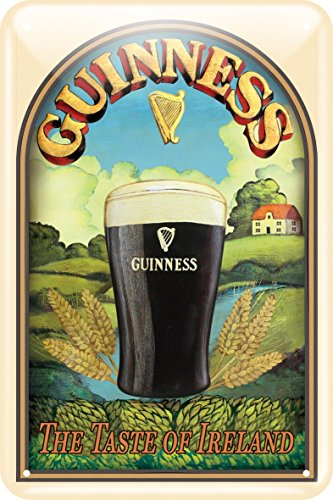 Guinness Sign - Guinness Metal Sign With Taste Of Ireland Design (20Cm X 30Cm)