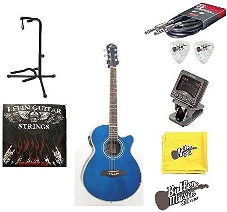 Oscar Schmidt og10ceftbl llama Tran azul acústico guitarra eléctrica w/púas, cuerdas y más: Amazon.es: Instrumentos musicales