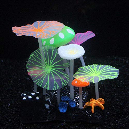 MHS Aquarium Glowing Mushroom Coral Lotus Decorations - Fish Tank Decoration Silicone Ornament,Eco-Friendly Glowing Artificia Aquarium Décor for Freshwater Saltwater Aquarium (5 Mushroom 4 Lotus) (Tank Bottom Stand)