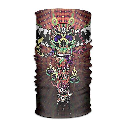 Skull Mask With Dreadlocks (Skull Totem Color Women's Elastic Face Masks Bandanna Hair Band)