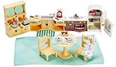 Perfect for your Calico Critters to cook up hours of fun! The ensemble includes a kitchen table and chair set, a counter with sink and an oven, refrigerator and hutch—all with doors that open and close! Calico Critters is a unique and adorabl...