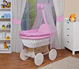 WALDIN Baby wicker cradle, Moses basket,18 models available,white painted stand/wheels,textile colour pink