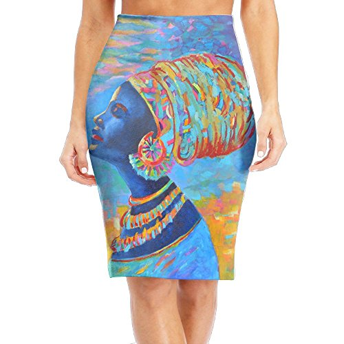 WOAIDY Watercolor African Woman Women's Fashion Printed Pencil Skirt