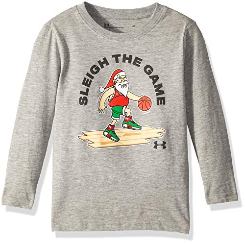 Under Armour Boys' Little Long Sleeve Graphic Tee Shirt, True Grey Heather Santa, 4 ()
