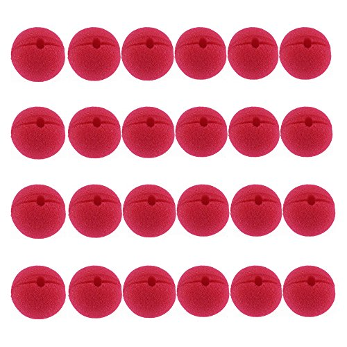 Acmer 24 PCS Foam clown nose,Clown circus nose,Halloween nose,Red nose day,Red foam nose,Christmas (Red Foam Clown Nose)