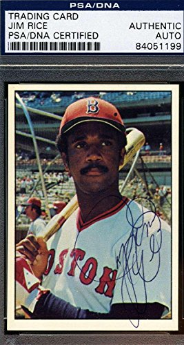 JIM RICE ROOKIE COA Autographed 1975 SSPC Authentic Hand Signed - PSA/DNA Certified - Baseball Slabbed Autographed Cards Autographed Jim Rice