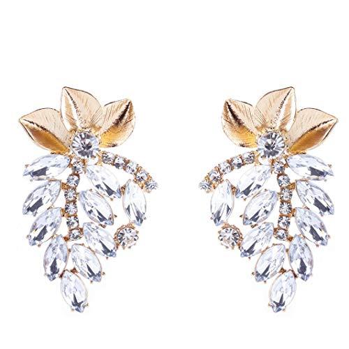 Yeefant 1 Pair Leaf Pendant Shaped Steel Stud Diamond Jewelry Earring for Girl