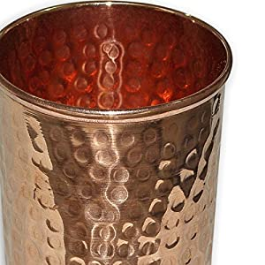 AVS STORE Pure copper hammered Glass for Healing Ayurvedic tableware accessories Set of 12