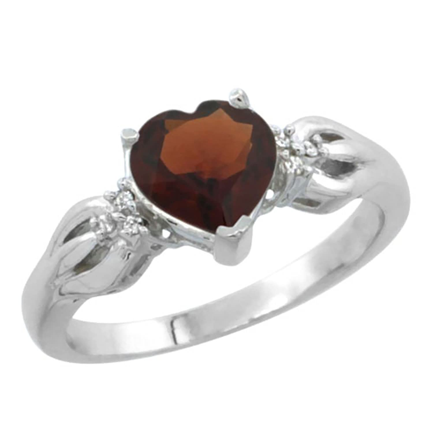 10K White Gold Natural Garnet Ring Heart-shape 7x7mm Diamond Accent, sizes 5-10