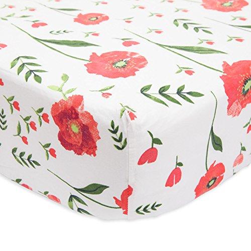 (Little Unicorn Percale Crib Sheet - Summer Poppy)