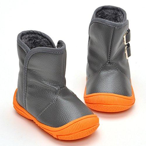 Baby Jungen Gummi Sohle Winter Stiefel, Grau - Grau - Größe 3-6 monate