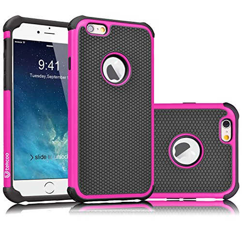 (Tekcoo iPhone 6S Case, Tekcoo iPhone 6 Sturdy Case,[Tmajor] for iPhone 6 / 6S (4.7 INCH) Case Shock Absorbing Impact Defender Slim Cover Shell w/Plastic Outer & Rubber Silicone Inner [Hot Pink/Black])