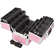 Sunrise E3304 Professional Makeup Artist Cosmetic Train Case Organizer Storage with 6 Trays with Dividers, Crocodile Pink