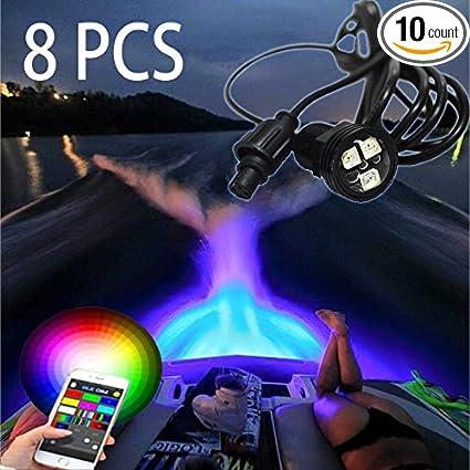 Amazon Com 8pc New Rgb Bluetooth Led Boat Lights With