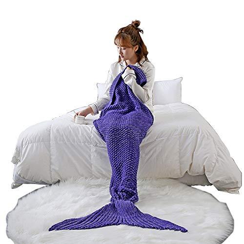 HUIFANG Mermaid Tail Blanket Otoño E Invierno Manta De Punto Ropa De Cama Sofá Manta Manta Decorativa 140x60cm / 180x80cm A...