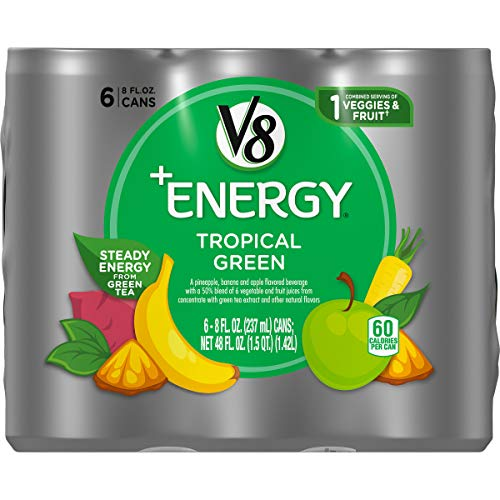 V8 +Energy, Healthy Energy Drink, Natural Energy from Tea, Tropical Green, 8 Ounce Can (Pack of 6)