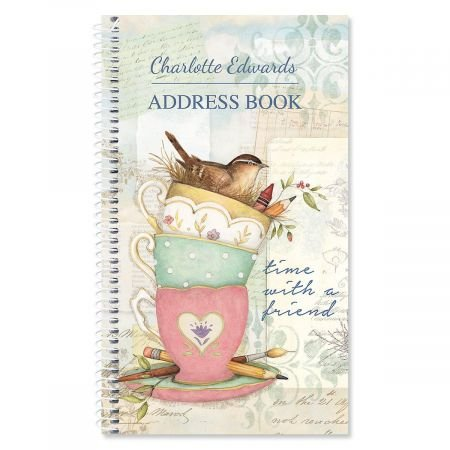 Teacup Personalized Lifetime Address Book- 72 Page Spiral Comes with Stickers to Cover up Outdated Addresses by Current