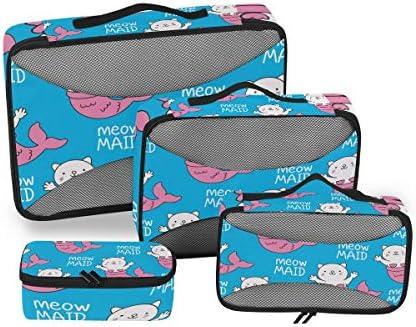 かわいい青い漫画猫魚荷物パッキングキューブオーガナイザートイレタリーランドリーストレージバッグポーチパックキューブ4さまざまなサイズセットトラベルキッズレディース