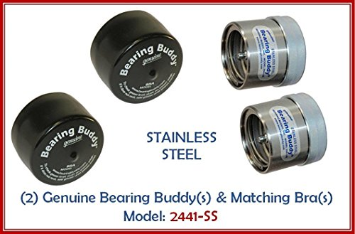 (2) 2.441 STAINLESS STEEL Boat Trailer BEARING BUDDY with Protective Bra - Wheel Center Caps 2441-SS (1 Pair)